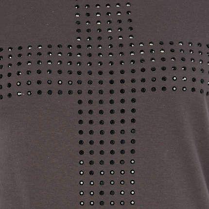 grey studded cross t-shirt - print t-shirts / vests - t shirts / vests / sweats - women - River Island