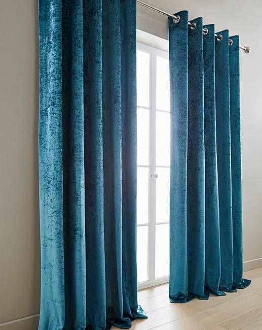 Crushed Velvet Lined Eyelet Curtains J D Williams Curtains Teal Curtains Lined Curtains