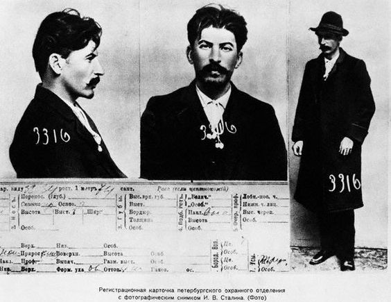 """Russian tsarist secret police mug shot and file on Joseph Stalin (listed as """"I.V. Stalin""""), 1911.  Stalin was an active revolutionary.  He was an """"Old Bolshevik,"""" meaning that he was part of the Bolshevik Party prior to the 1917 Russian Revolution."""