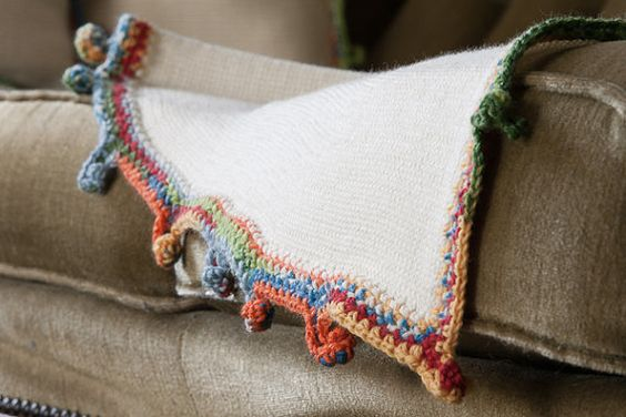 Cream Knit Blanket with Rainbow Edge - Knitted by Knitblankets, $119.00