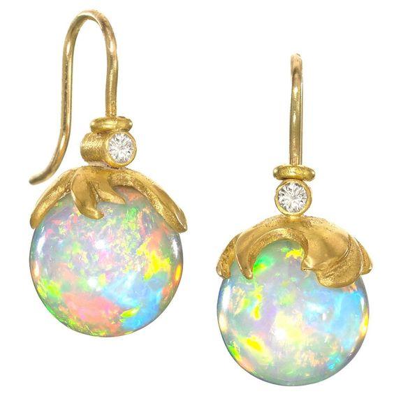 Lilly Fitzgerald Handcarved Ethiopian Opal Sphere Diamond Gold Drop Earrings: