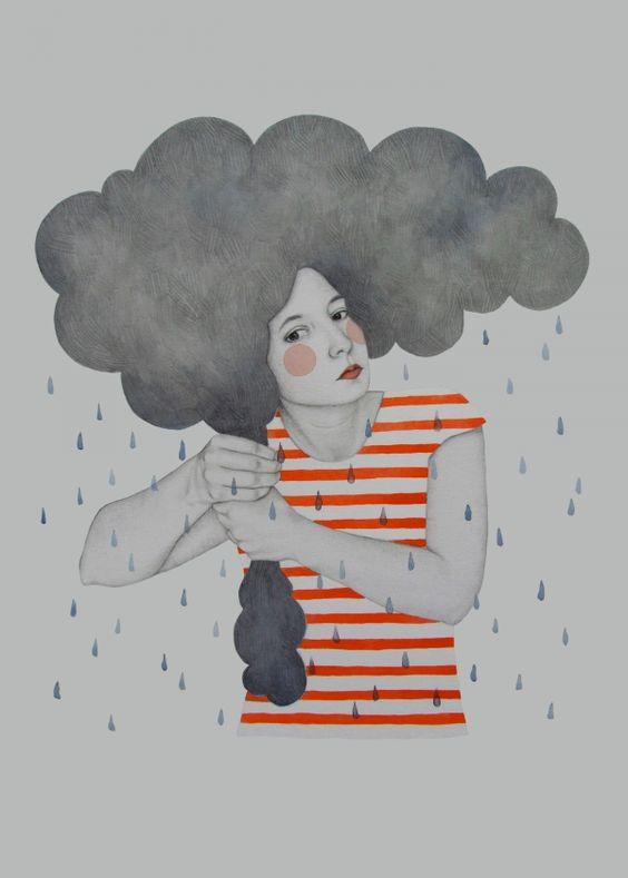 Mujer lluvia ilustración. Muy original, me encanta. Amazing artwork by Sofia Bonati #rain #cloud