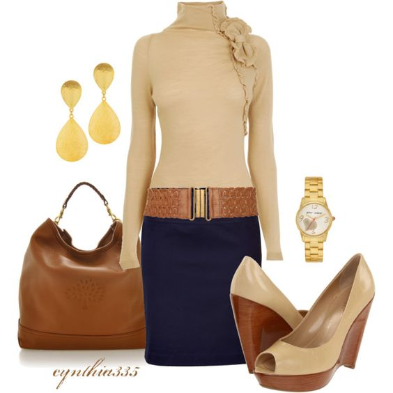 Cream ruffle turtleneck sweater, navy pencil skirt, cream wedges, saddle bag, gold accessories - Great work outfit!