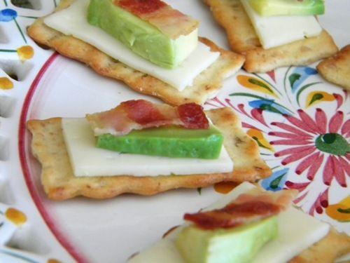 Havarti cheese, Avocado, and Bacon.