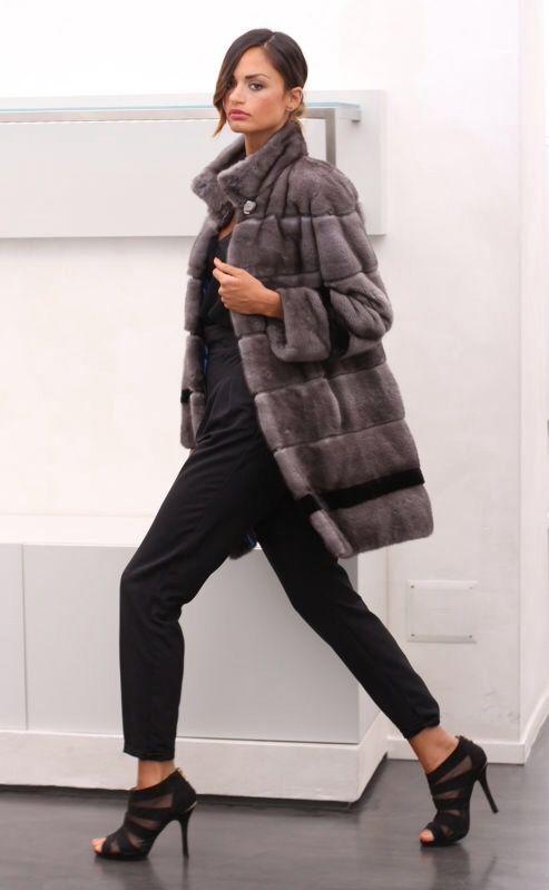 Blue Iris & Ranch Mink Fur Coat