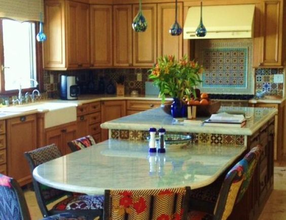 bilevel island table height and counter height with rounded end - Kitchen Island Table