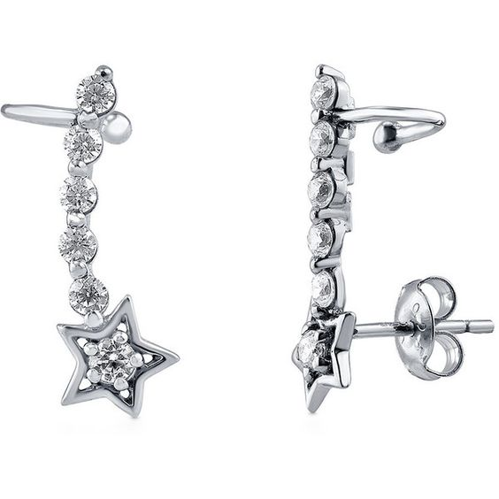 BERRICLE BERRICLE Sterling Silver CZ Star Fashion Cuff Earrings (€34) ❤ liked on Polyvore featuring jewelry, earrings, clear, cuff earrings, women's accessories, sparkly earrings, sterling silver cuff earrings, zirconia earrings, star jewelry and sterling silver jewelry