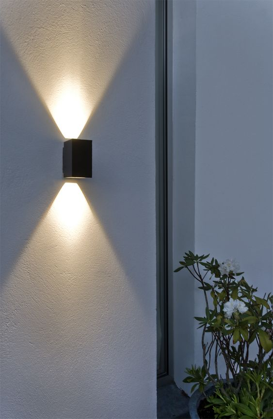 Led lamps and wall lamps on pinterest for Fixture exterieur led