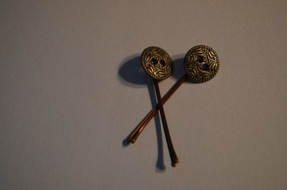 Vintage Button Bobby Pins by CloudOneZero on Etsy, $4.00