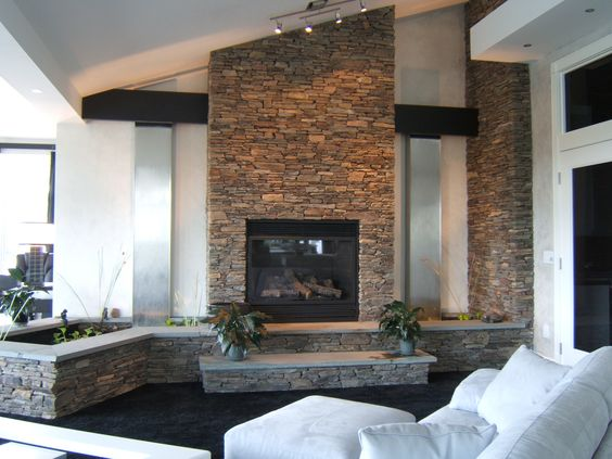 Waterfall, Fireplace and Fish Pond