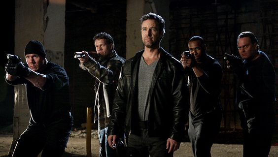Argent and his men face off against Derek and Boyd.  Photo by MTV