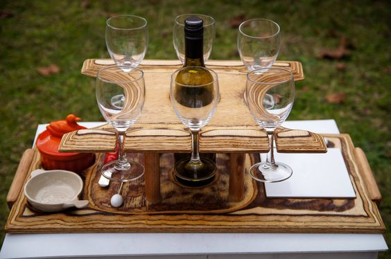 Wine caddy for four glasses and bottle with a tray.  From Arbortech's facebook timeline.