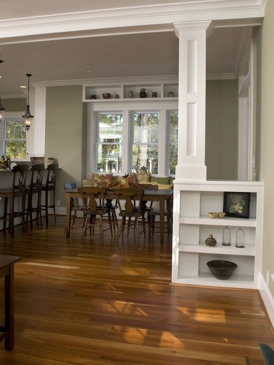 How to remove wall separating living room and kitchen for Dining room half wall ideas