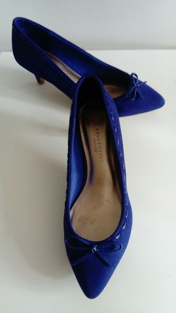 M S Collection Insolia Wider Fit Blue Suede Low Kitten Heels Shoes