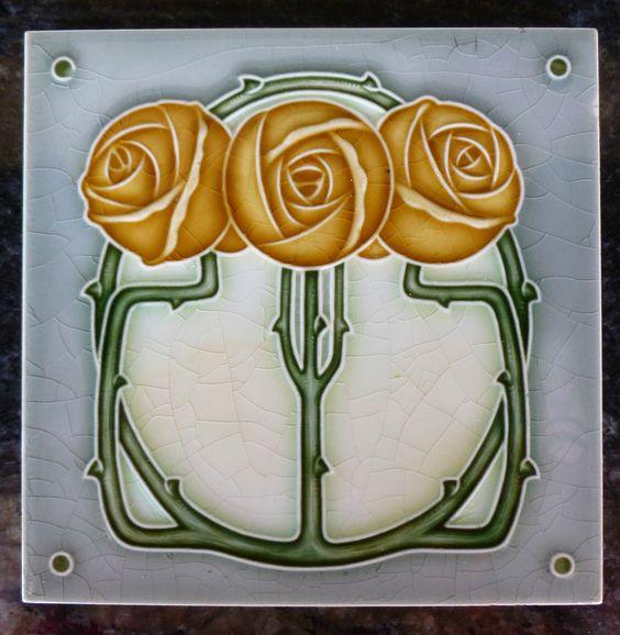 Jugendstil Fliese art nouveau tile Tegel NSTG Rosen gelb top schön chic rar in Antiquitäten & Kunst, Porzellan & Keramik, Keramik | eBay