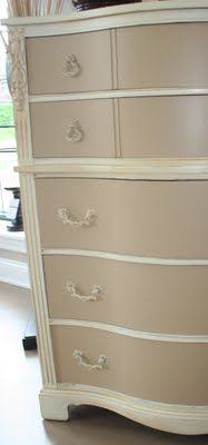 Vintage dresser redone in a two tone finish using two coats of Valpsar Honeymilk to the body of the dresser. To achieve the two-tone look, she then painted the drawers with 2 coats of coats of Valspar Malted Milk.