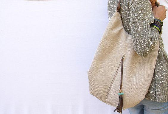 lienzo de piedra y asas de cuero, bolso extra grande, Hobo Bolsa, Bolsa de hombro,