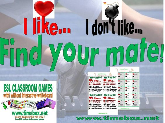 CLASSROOM GAMES - FIND YOUR MATE - expression orale I like / I don't like - PRIMAIRE