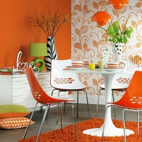 orange and white dining room decor with 60s style decoration decor pictures