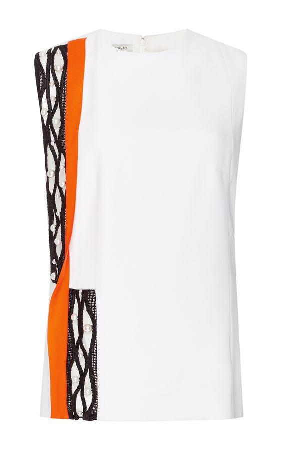Bi-Color Macramé Sleeveless Side Cut-Out Tank - MUGLER Resort 2016 - Preorder now on Moda Operandi