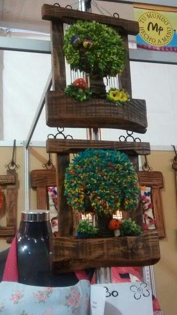 Arboles de lana natural en marcos tipo telar expotelas for Tipos de arboles decorativos