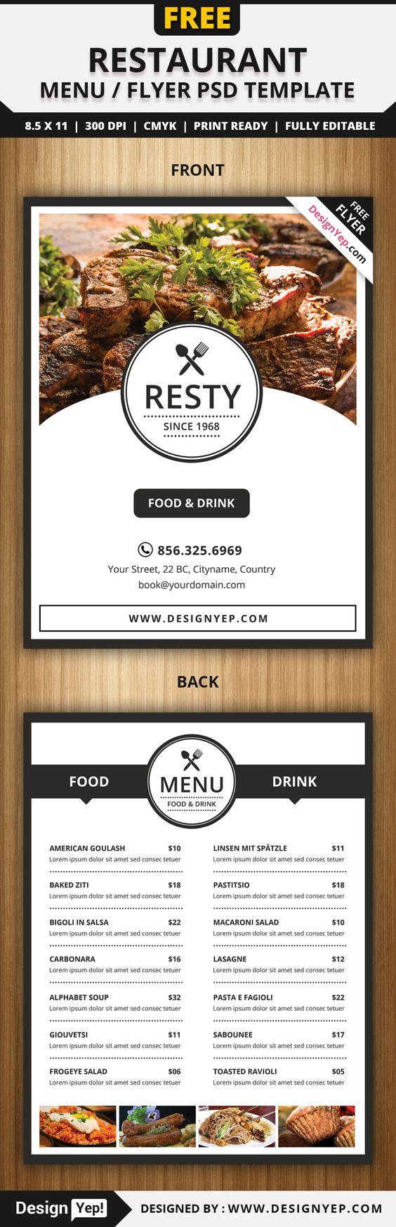 Free Restaurant Menu / Flyer PSD Template Free Flyers