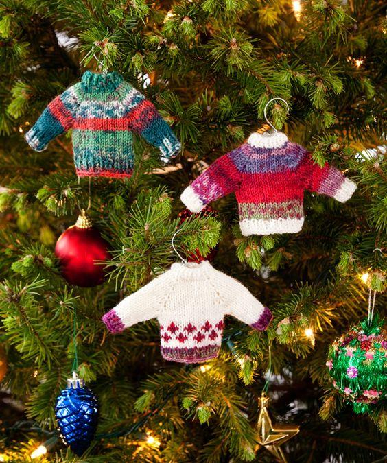 Noel Knit Sweater Ornaments FREE knitting pattern Red heart Yarn miniat...