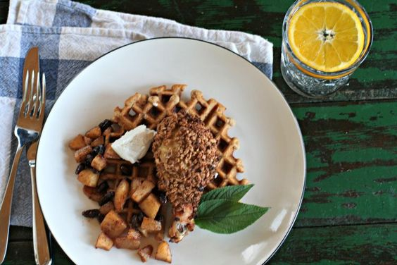 Healthy Chicken and Waffles with Grape-Nuts Cereal and Honey goat Cheese
