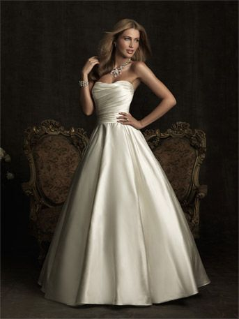 Nice & simple    Allure Bridal  Style Number:8919  Allure Bridal    A simple and understated design in rich satin. The strapless bodice is slightly scooped, ruched and has a natural waistline. The gown is completed with a back bow detail and full A-line skirt.