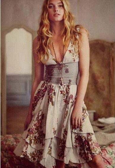 Deep V-neck Sleeveless Flower Print Mesh Patchwork Dress