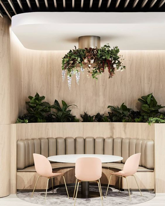 "Textiles.Leathers.WallFinishes on Instagram: ""Luxe design + living. Sky Garden by @dko_architecture features our Zone vinyl on padded booth seating. Photography by @sharyncairns.…"""