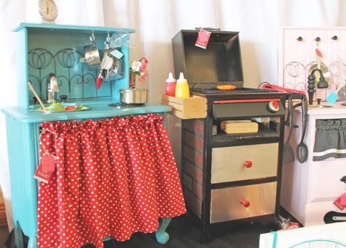 Play kitchens made from old furniture! So sweet!