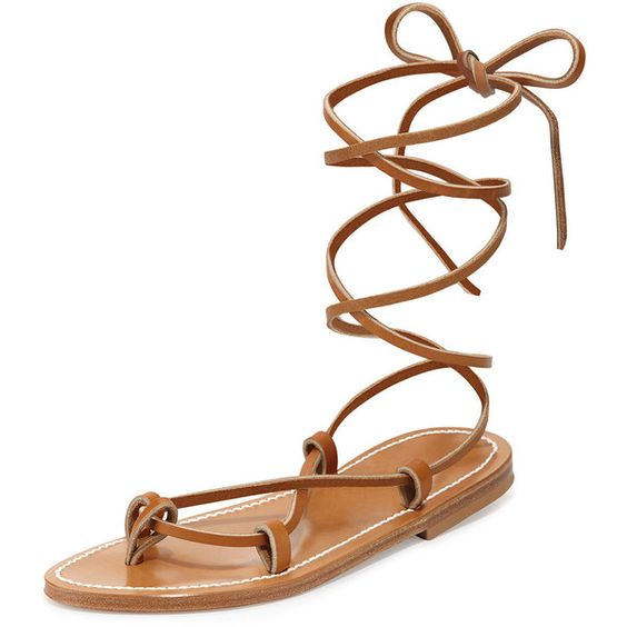 K. Jacques Bikini Leather Gladiator Sandal ($265) ❤ liked on Polyvore featuring shoes, sandals, flats, pul naturel, roman gladiator sandals, t-strap flats, pointy-toe flats, strappy gladiator sandals and leather gladiator sandals