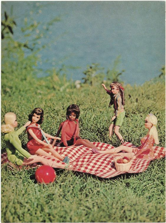 Barbie and friends picnic from a magazine ad, 1960's, photo by ecofriendlyfreckles on Etsy