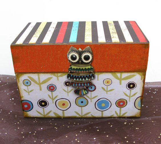 Owl Recipe Box Woodcut Custom and Personalized by NandJDesigns, $26.99