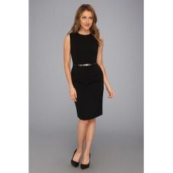 Calvin Klein - Belted Peplum Dress CD3X1J38 (Black) - Apparel - product - Product Review