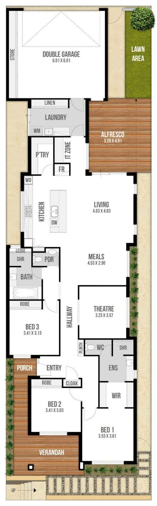 Floor Plan Friday Narrow Block With Garage Rear Lane Access Courtyard House Plans House Plans Narrow House Plans