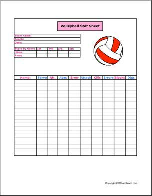 Stat Sheet: Volleyball - Keep track of the players, the scores ...