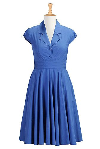"""While this dress is superficially similar to the other blue shirt dress, there are a few important differences: the fabric is cotton without spandex, so will not stretch; the self-colored buttons only go to the waistline, which I find much more flattering. The portrait collar and blue color still suggest """"shirt dress"""", but are just a bit dressier."""