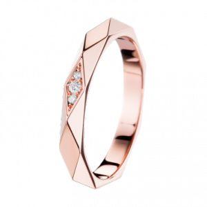 Boucheron facette or rose 1640e 3 diamants ronds