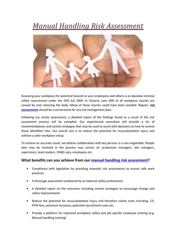 Manual handling risk assessment - health safety risk assessment