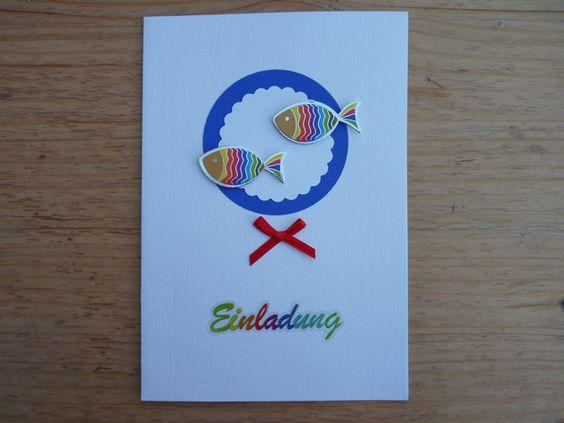 Diese Einladungskarte habe ich in bunten Regenbogenfarben in Handarbeit gestaltet.  Sie besteht aus ausgestanzten Teilen aus unterschielichen Papieren, bunte 3D Fische in Regenbogenfarben und...