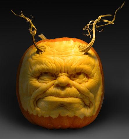 Halloween Jack O'Lanterns carved out of pumpkins by Ray Villafane and Andy…