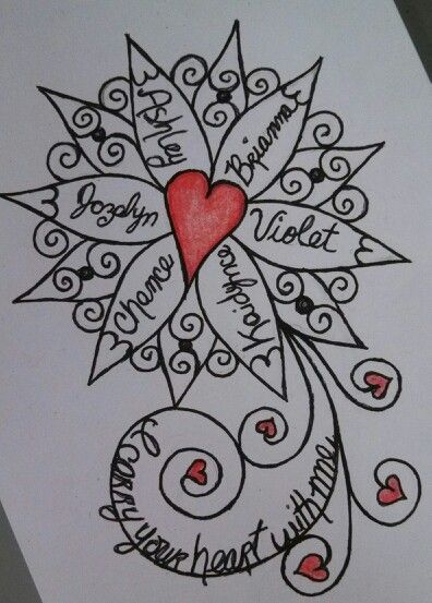 sketch for a tattoo for forearm it incorporates the names of my daughters and my grandchildren. Black Bedroom Furniture Sets. Home Design Ideas