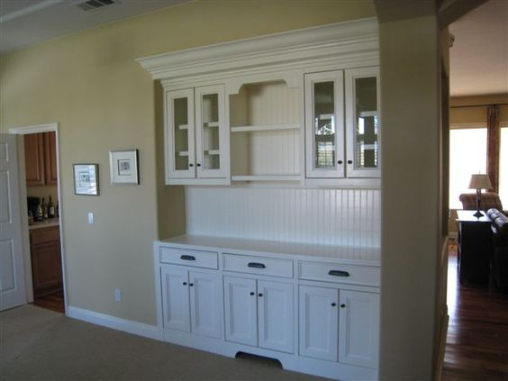 Built in buffet bead board in back for the home for Built in dining room buffet ideas