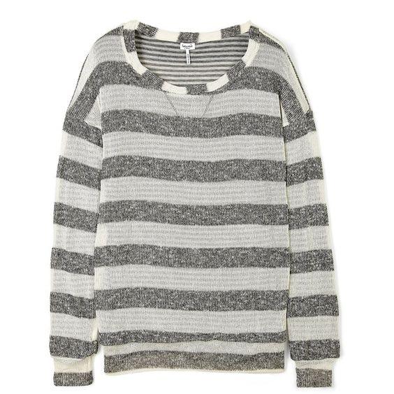 Splendid Heather Grey Stripe Knitted Jumper ($81) ❤ liked on Polyvore