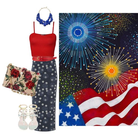 Happy Birthday, America !!! by splenderosa on Polyvore featuring WearAll, White Stuff, Dolce&Gabbana, Kate Spade and Uniqlo