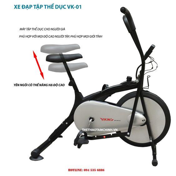 Xe đạp tập thể dục VK-01, máy tập cho người lớn tuổi