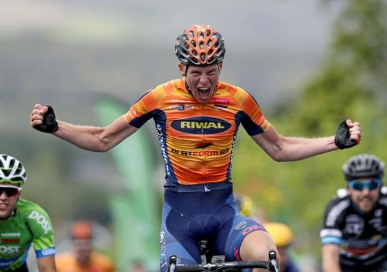 Nicolai Brochner (Riwal Platform) celebrates stage 4 victory (An Post Aras)