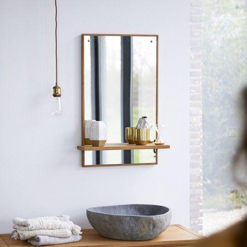 Galyno Teak Mirror 75x45 Badezimmerspiegel Badezimmer Holz